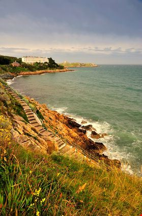 Cliffside steps leading to waters edge