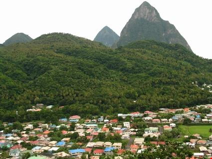 Fishing Town beneath The Pitons