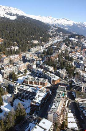 Aerial view of an alpine ski resort