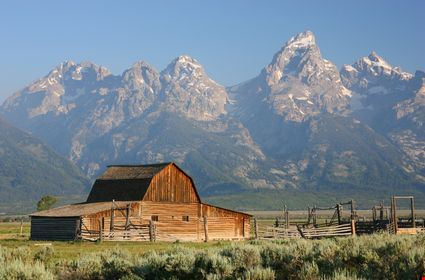 The Mormon Barn and the Teton Mountain Range in Grand Teton