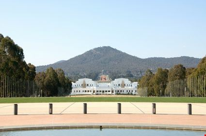View from the front courtyard of Parliament House