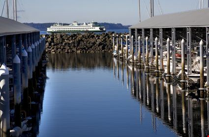 Marina, Ferry boat, Reflections, Puget Sound, Edmonds