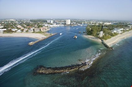 Aerial view of Hillsboro Bay in Pompano Beach