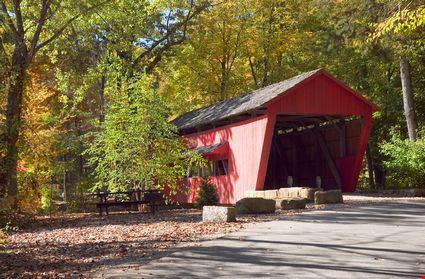 An old historic covered bridge