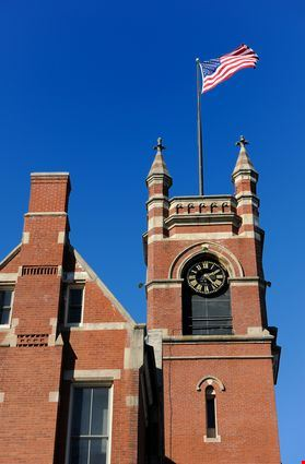 Old brick building with a clock of Smith College