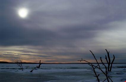 Sun over a frozen Devil's Lake