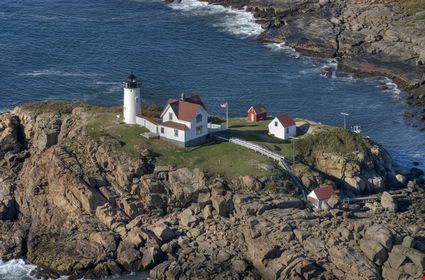 Nubble lighthouse taken from the air on the ocean side