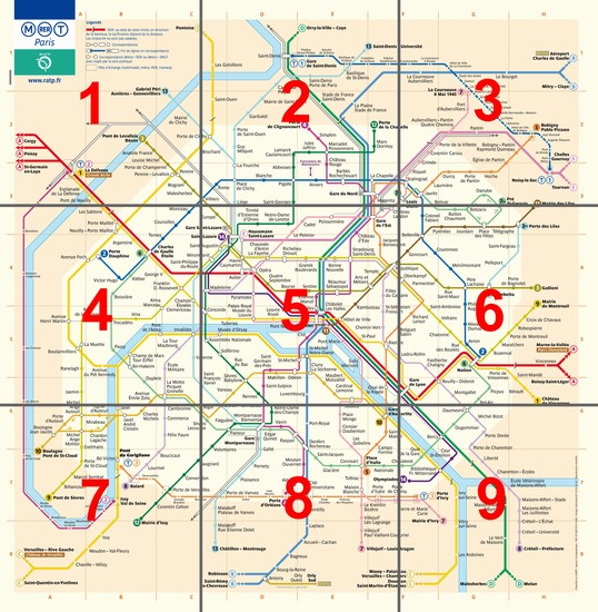 Photo Piantina generale, divisa per zone, della Metropolitana di Parigi in Paris - Pictures and Images of Paris