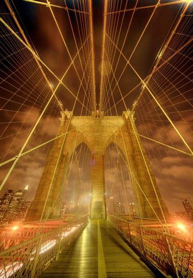 18950 new york scorcio caratteristico del ponte di brooklyn