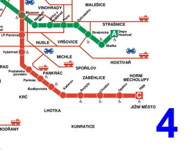 Photo Mappa della Metropolitana di Praga (sezione 4) in Prague - Pictures and Images of Prague