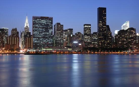 photo new york lo skyline di new york con il chrysler. Black Bedroom Furniture Sets. Home Design Ideas