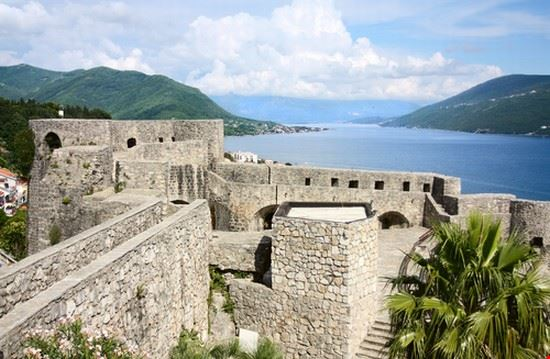 Fortress of old town Herceg Novi and Adriatic sea