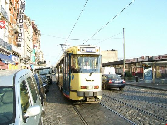 Trams in Ropsy Chaudron street, Anderlecht