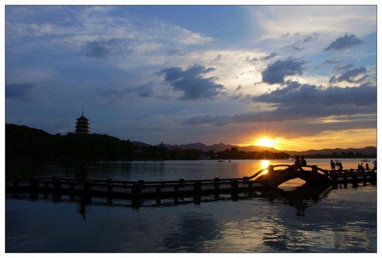 Photo hangzhou westsee sonnenuntergang in Hangzhou - Pictures and Images of Hangzhou