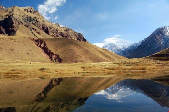 Der Aconcagua spiegelt sich im Wasser