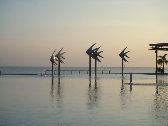 la piscina di Cairns fronte mare all'alba