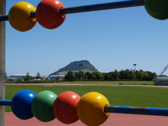 Photo Mount Maunganui from Tauranga Domain playground. in Tauranga - Pictures and Images of Tauranga