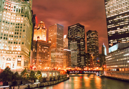 Photo chicago veduta notturna della citta in Chicago - Pictures and Images of Chicago