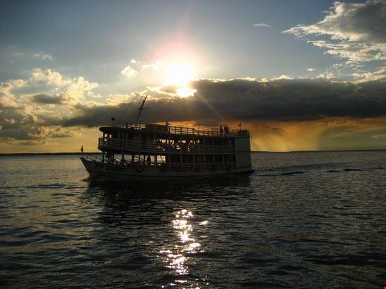 manaus boat sunset