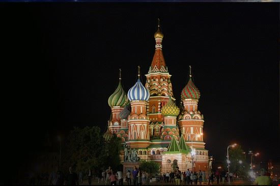 cattedrale di san basilio notte mosca