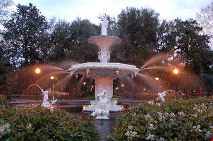 savannah fontana del parco del forsyth in savannah