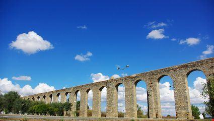 Ancient Roman aqueduct in Evora