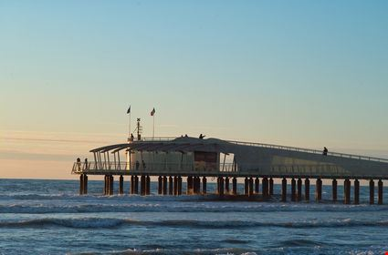 Modern pier in the tirrenean coast near Viareggio