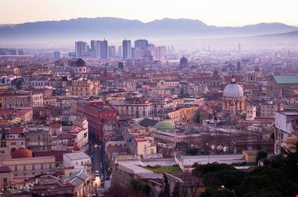 Landscape on city Naples's at sunrise