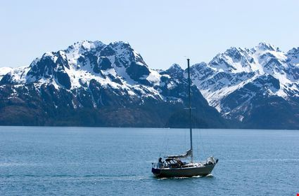 Sailing boat in Alaskan waters