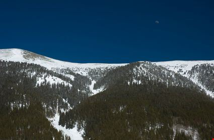 Rocky Mountains with deep blue sky