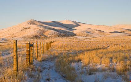 Sunrise over an snowy field