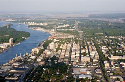 Aerial view of downtown savannah