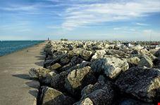 Rock Pier on Lake Michigan