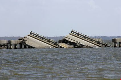 A bridge that was sunk in Biloxi