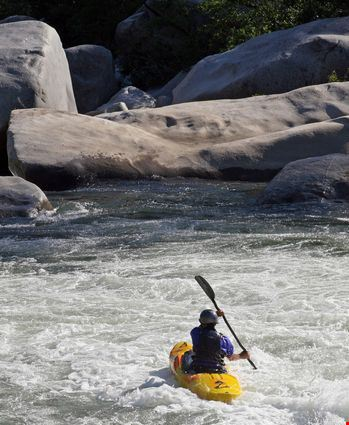 Kayakers brave the rapids on the Feather River