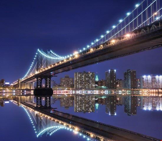 18948 new york veduta notturna del ponte