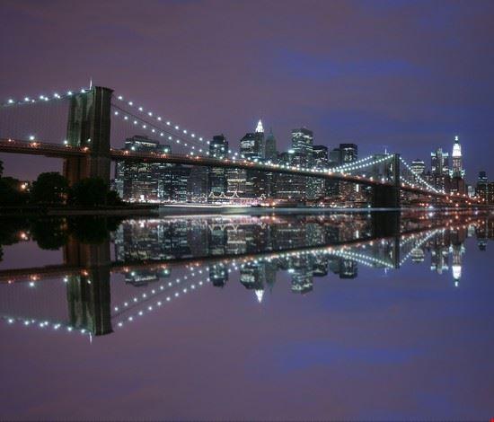 Foto il ponte di brooklyn di notte a new york 550x470 for Foto new york notte
