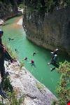 Junp in green water