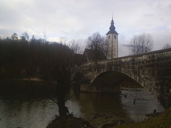 20705 bled the church and the bridge at ribcev laz