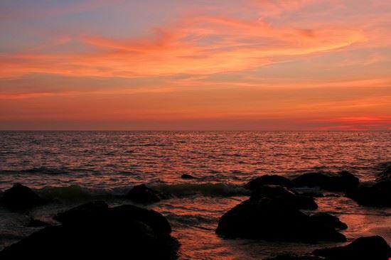 Vivid sunset and rocks