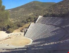 The Ancient Theater of Epidavros famous for its perfect acoustics and still used in the summer months for live performances.