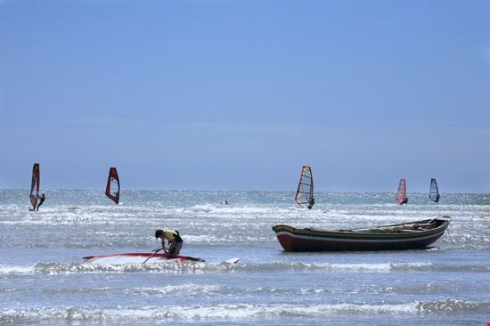 Windsurfing in a beautiful village