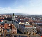 Panorama view of Sibiu with Carpathian Mountains in the back