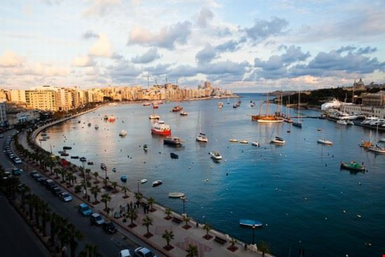 beautiful sunset in winter sliema