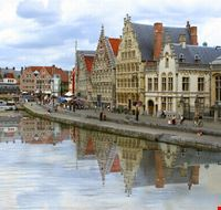 architecture along a canal in ghent gand
