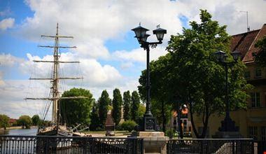 Sailboat moored at Klaipeda city