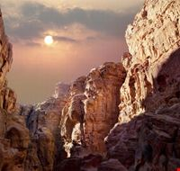 Scenic view of canyon in Wadi Rum