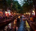amsterdam red light district at dusk