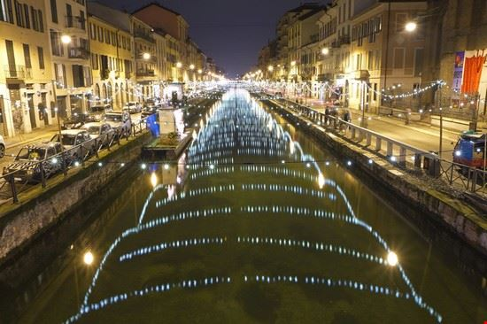 Naviglio grande lit up at night