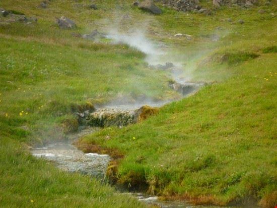 Acqua calda che esce dalle crepe del terreno